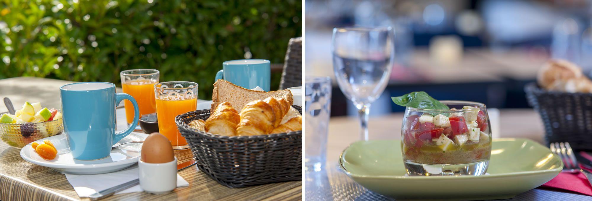 Le petit-déjeuner buffet et le restaurant du Brit Hotel d'Avignon