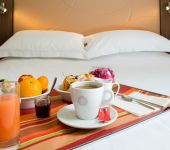 A breakfast served in your room at the hotel