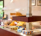 Dairy corner at the breakfast of the Cesson hotel