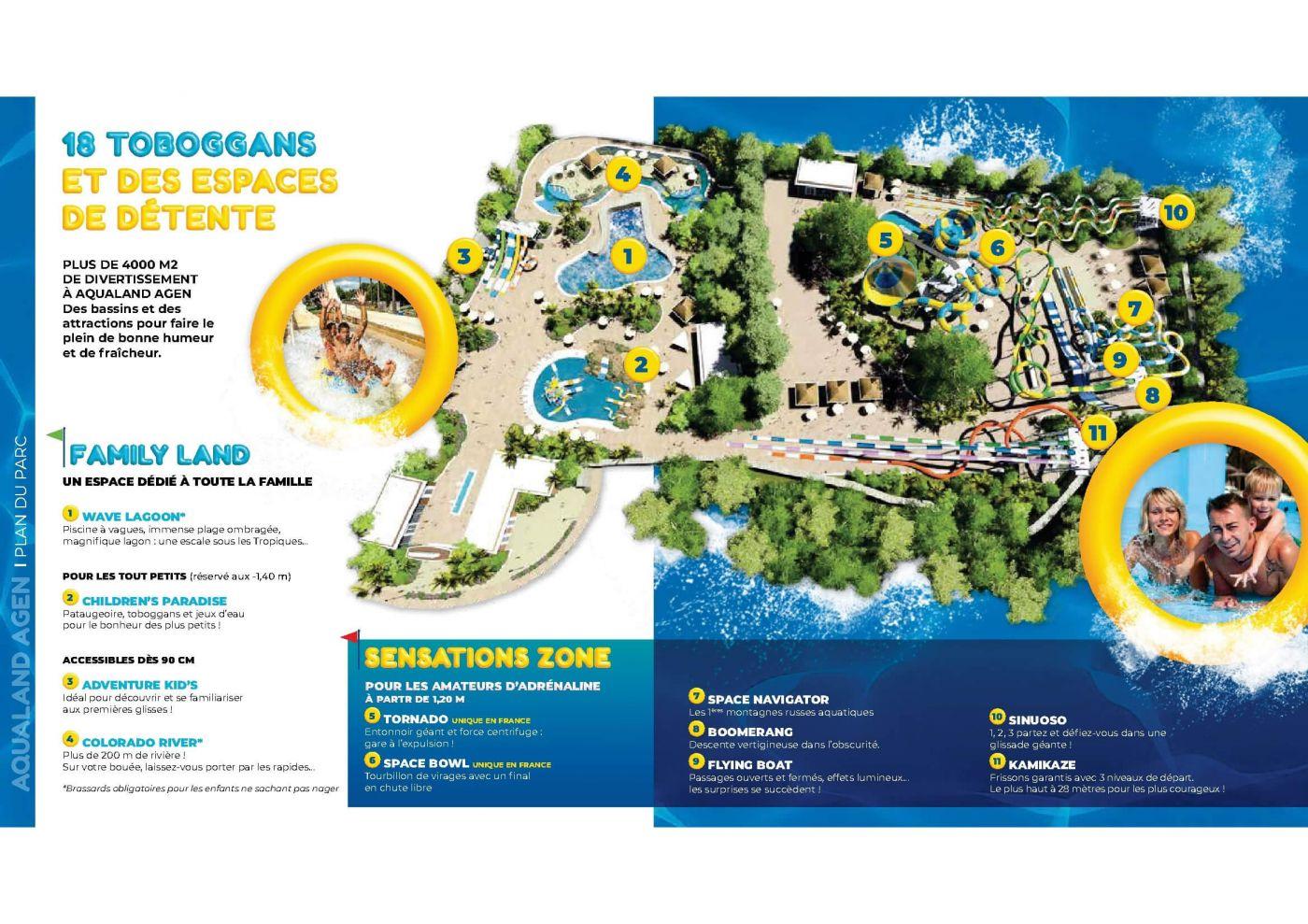 Le Plan du Parc Aqualand, nouveau à Agen, près de l'hôtel-restaurant.